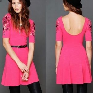 FREE PEOPLE Garden Sleeve Embroidered Dress S pink